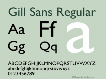 Gill Sans Regular 3 Font Sample