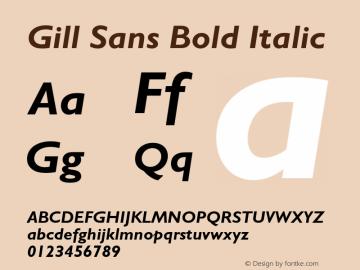 Gill Sans Bold Italic 4 Font Sample