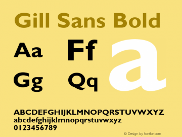 Gill Sans Bold Version 2.0 - June 6, 1995 Font Sample