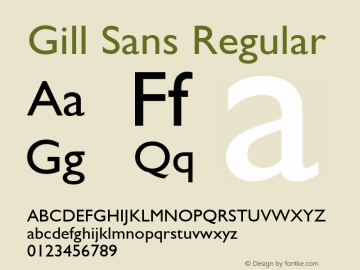 Gill Sans Regular V.2.00: Re-make of TrueType for PS metric compatibility...hand hinted in TypeMan Font Sample