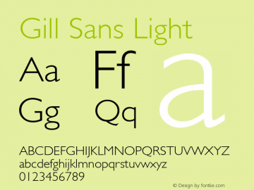 Gill Sans Light 8.0d2e1 Font Sample