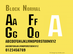 Block Normal Altsys Fontographer 4.1 1/30/95 Font Sample