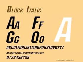Block Italic Altsys Fontographer 4.1 1/30/95 Font Sample