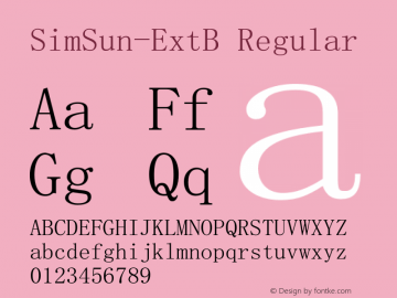 SimSun-ExtB Regular Version 5.000;PS 001.001;hotconv 1.0.38 Font Sample