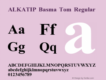 ALKATIP Basma Tom Regular Version 5.00 Font Sample
