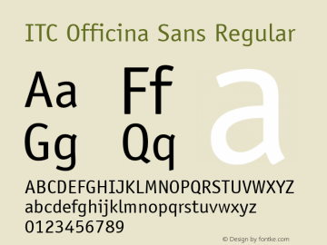 ITC Officina Sans Regular 001.000 Font Sample