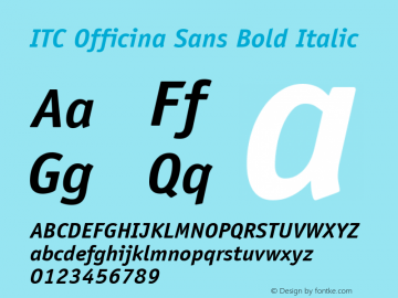ITC Officina Sans Bold Italic Version 001.000 Font Sample