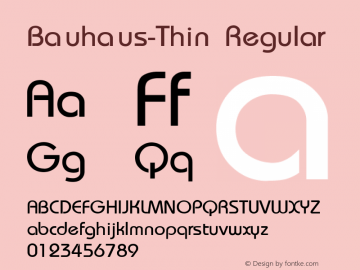 Bauhaus-Thin Regular Converted from f:\x\BAUTHIN.TF1 by ALLTYPE Font Sample