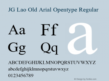 JG Lao Old Arial Opentype Regular 1.1图片样张