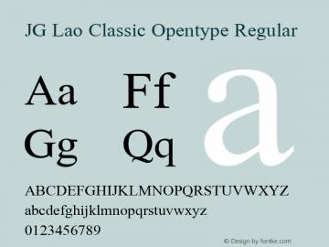 JG Lao Classic Opentype Regular 1.1 Font Sample