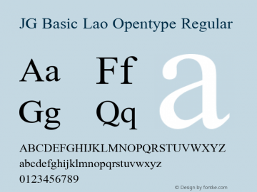 JG Basic Lao Opentype Regular Version 2.000 2002 initial release Font Sample