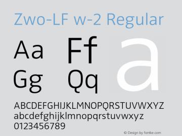 Zwo-LF w-2 Regular 4.313 Font Sample