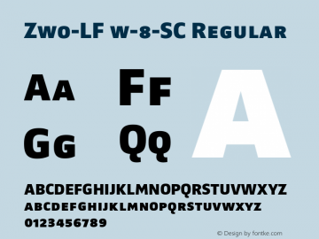 Zwo-LF w-8-SC Regular 4.313 Font Sample