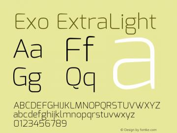 Exo ExtraLight Version 1.00 Font Sample