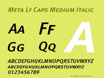 Meta Lf Caps Medium Italic 004.301 Font Sample
