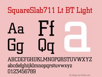 SquareSlab711 Lt BT Light mfgpctt-v4.4 Dec 29 1998 Font Sample