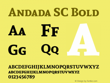 Andada SC Bold Version 1.003 Font Sample