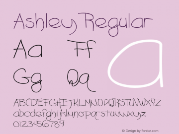Ashley Regular Altsys Fontographer 3.5  3/14/92图片样张