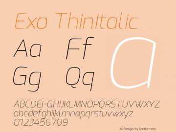 Exo ThinItalic Version 1.00 Font Sample