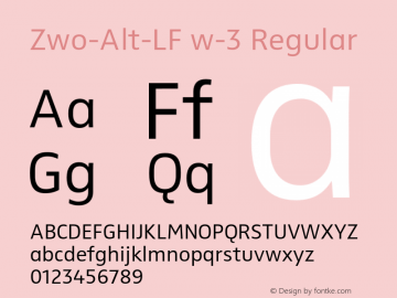 Zwo-Alt-LF w-3 Regular 4.313 Font Sample