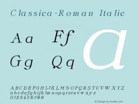 Classica-Roman Italic Altsys Fontographer 3.5  3/29/92 Font Sample