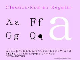 Classica-Roman Regular Converted from F:\TTF\CLASSROM.TF1 by ALLTYPE Font Sample