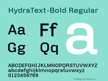 HydraText-Bold Regular 004.460 Font Sample