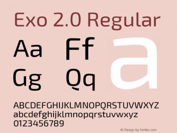 Exo 2.0 Regular Version 1.001;PS 001.001;hotconv 1.0.70;makeotf.lib2.5.58329 Font Sample