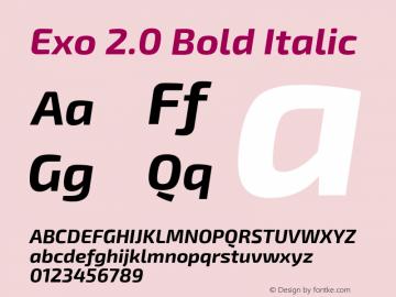 Exo 2.0 Bold Italic Version 1.001;PS 001.001;hotconv 1.0.70;makeotf.lib2.5.58329 Font Sample