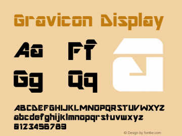 Gravicon Display Altsys Fontographer 4.0 10/20/96 Font Sample