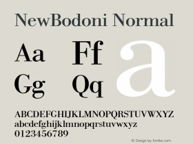 NewBodoni Normal 1.0 Mon Oct 18 10:59:41 1993 Font Sample