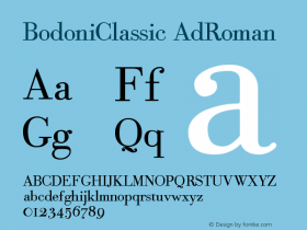 BodoniClassic AdRoman Version 001.000 Font Sample