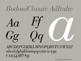 BodoniClassic AdItalic Version 001.000 Font Sample
