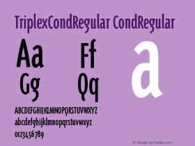 TriplexCondRegular CondRegular Version 001.000 Font Sample
