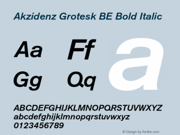 Akzidenz Grotesk BE Bold Italic OTF 1.0;PS 001.001;Core 1.0.22 Font Sample