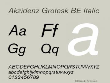 Akzidenz Grotesk BE Italic OTF 1.0;PS 001.001;Core 1.0.22 Font Sample