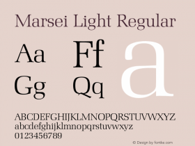 Marsei Light Regular 001.000 Font Sample