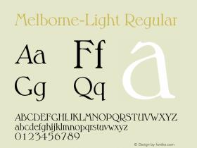 Melborne-Light Regular 001.001 Font Sample