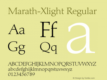 Marath-Xlight Regular 001.001 Font Sample