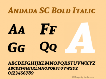 Andada SC Bold Italic Version 1.003 Font Sample