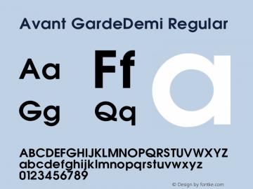 Avant GardeDemi Regular 001.000 Font Sample