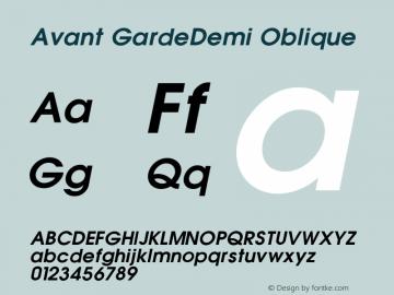 Avant GardeDemi Oblique 001.000 Font Sample