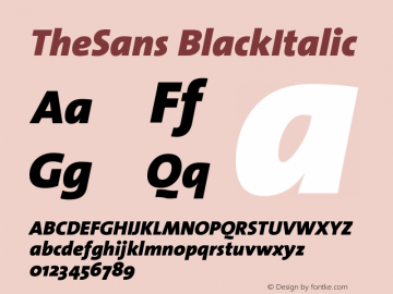 TheSans BlackItalic Version 1.0 Font Sample