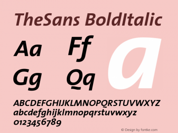 TheSans BoldItalic Version 1.0 Font Sample