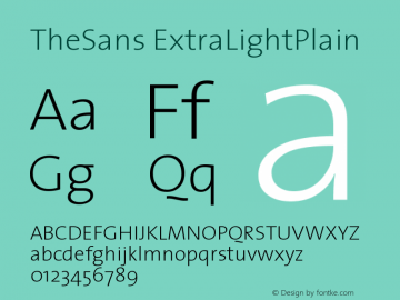 TheSans ExtraLightPlain Version 1.0 Font Sample
