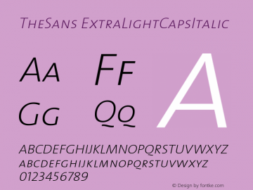 TheSans ExtraLightCapsItalic Version 1.0 Font Sample