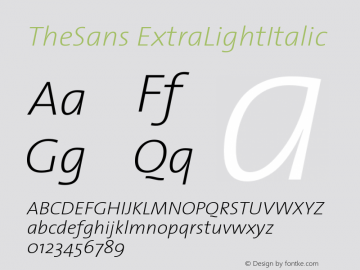 TheSans ExtraLightItalic Version 1.0 Font Sample