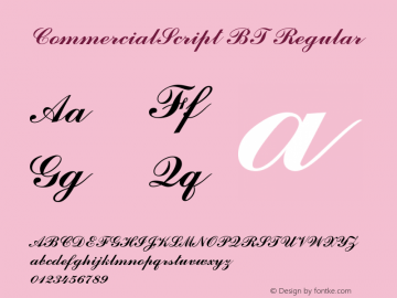 CommercialScript BT Regular mfgpctt-v1.52 Thursday, January 28, 1993 11:39:47 am (EST) Font Sample