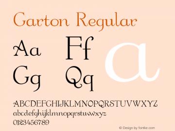 Garton Regular Altsys Fontographer 3.5  7/6/93 Font Sample