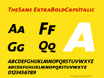 TheSans ExtraBoldCapsItalic Version 1.0 Font Sample
